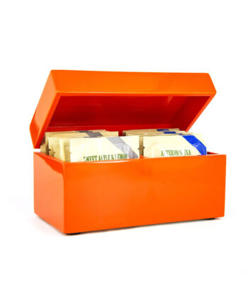 ORANGE LACKBOX TEEBEUTELN